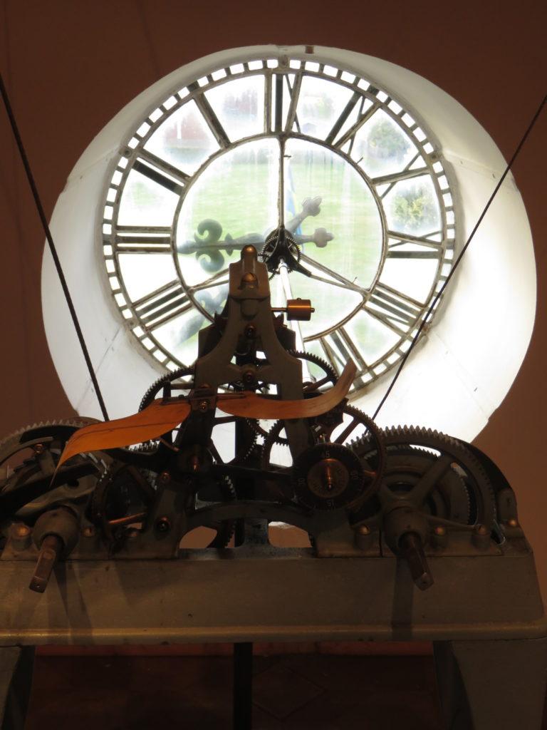 inside a church a clock