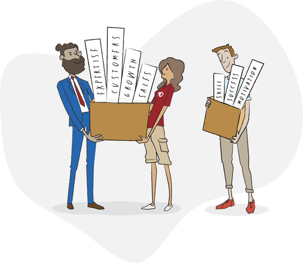 Sales Coach - We are about: Expertise, three people carrying two boxes first box signs with Customers, Growth and Sales the second box signs Skills, Success and Motivation