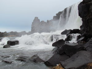 Waterfall funnels water