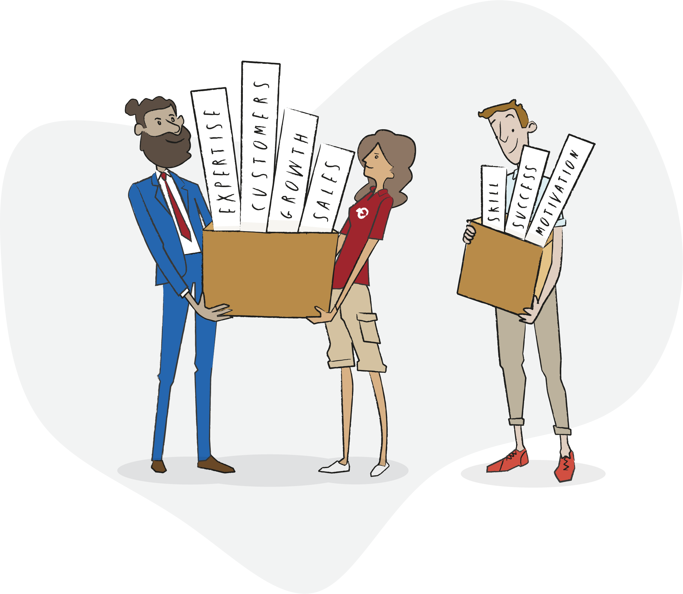 We are about: Expertise, three people carrying two boxes first box signs with Customers, Growth and Sales the second box signs Skills, Success and Motivation